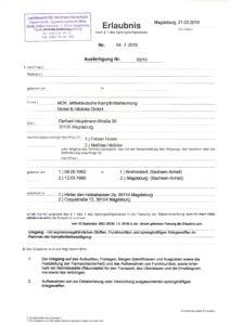 Erlaubnis nach § 7 Sprenggesetz, Kampfmittelräumung, Kampfmittelbergung