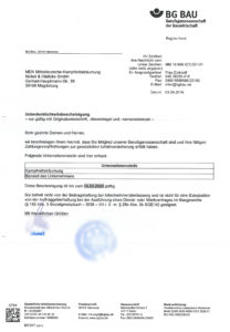 Mitgliedsbescheinigung der Berufsgenossenschaft der Bauwirtschaft