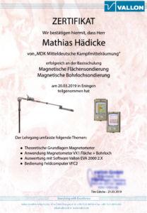Zertifikat Vallon für magnetische Flächensondierung und magnetische Bohrlochsondierung