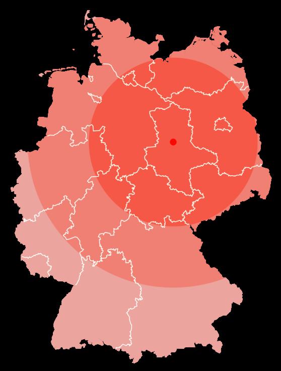 Karte der Bundesrepublik Deutschland. Farbig markiert der Einzugsbereich. Haupteinzugsbereich ist Mitteldeutschland.